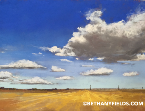 Texas Sky and Clouds – Pastel Painting on Paper